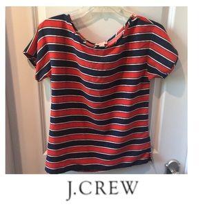 J. Crew Navy & Red Silk Short Sleeve Blouse